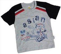 """ASIAN BABY Футболка для мальчиков 100% хлопок """"ASIAN спортивный мишка"""" серый/темно-синий Арт.670-8"""