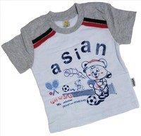 """ASIAN BABY Футболка для мальчиков 100% хлопок """"ASIAN спортивный мишка"""" белый/светло-серый Арт.670-8"""