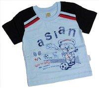 """ASIAN BABY Футболка для мальчиков 100% хлопок """"ASIAN спортивный мишка"""" голубой/темно-синий Арт.670-8"""