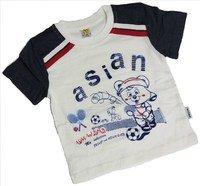 """ASIAN BABY Футболка для мальчиков 100% хлопок """"ASIAN спортивный мишка"""" молочный/темно-серый Арт.670-8"""
