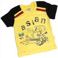 """ASIAN BABY Футболка для мальчиков 100% хлопок """"ASIAN спортивный мишка"""" желтый/черный Арт.670-8"""
