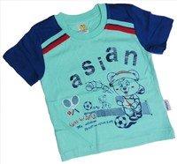 """ASIAN BABY Футболка для мальчиков 100% хлопок """"ASIAN спортивный мишка"""" бирюзовый/синий Арт.670-8"""