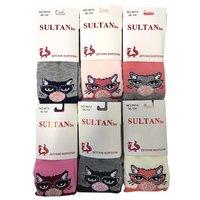 """SYLTAN, Колготы для девочек, хлопок, двухцветные """"Кошка в очках со стразами"""" Арт.9914"""