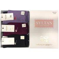 """SYLTAN, Носки женские, собачья шерсть, с рисунком на поголенке """"Цветок"""" в коробке Арт.1217"""