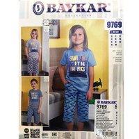 Байкар, Пижама-костюм для мальчиков (футболка+шорты), голубая Арт.9769