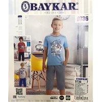Байкар, Пижама-костюм для мальчиков (футболка+шорты) светло серая Арт.9736