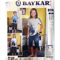 Байкар, Пижама-костюм для мальчиков (футболка+шорты) светло-серая  Арт.9770