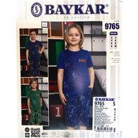 Байкар, Пижама-костюм для мальчиков, цвета джинса (футболка+бриджи) Арт.9765