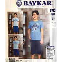 Байкар, Пижама для подростков (футболка+бриджи) светло голубая Арт.9772