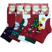 """SYLTAN, Носки женские, хлопок, новогодние с рисунком """"Дед Мороз"""" Арт.2158"""