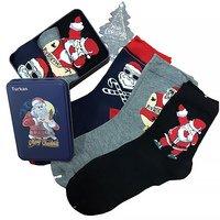 """TURKAN, Носки мужские, хлопок, в подарочной жестяной упаковке, новогодние (3шт) """"Дед мороз на луне"""" Арт.9666"""