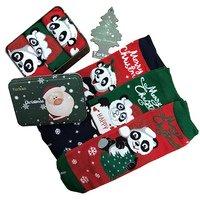 """TURKAN, Носки женские, хлопок, в подарочной жестяной  зеленой упаковке (3шт) """"Merry Christmas"""" Арт.7888"""