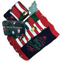 """TURKAN, Носки женские, хлопок, в подарочной жестяной  упаковке (3шт) """" Merry Christmas СНЕГОВИК"""" Арт.7888"""