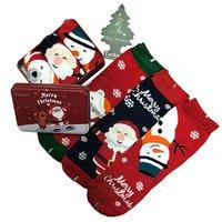 """TURKAN, Носки женские, хлопок, в подарочной жестяной упаковке с оленем (3шт) """"Merry Christmas"""" Арт.7888"""