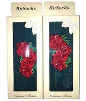 """RuSocks Колготки в коробке для девочек """"стразы, розы"""" изумруд Арт.ДК-3136(Рис-02)"""