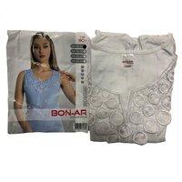 BON-AR Турция, Майка женская с кружевной вставкой, белая Арт.BN-801